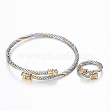 Trendy 304 Stainless Steel Torque Bangles & Rings Sets, with Rhinestone, Golden & Stainless Steel Color, 2-1/8inches(53mm); 17mm(SJEW-H073-09A)