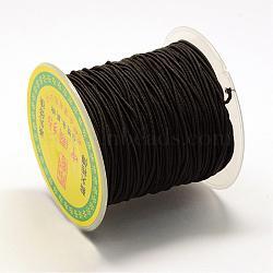 Эластичный шнур круглого, со слоем снаружи и резины внутри, чёрные, 1.2 мм; около 35~40 м / рулон(EC-R029-1.2mm-02)