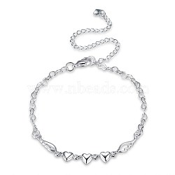 Trendy Brass Anklets, Heart & Wing Link Chain, Silver Color Plated, 7-7/8inches(200mm)(AJEW-BB31041)