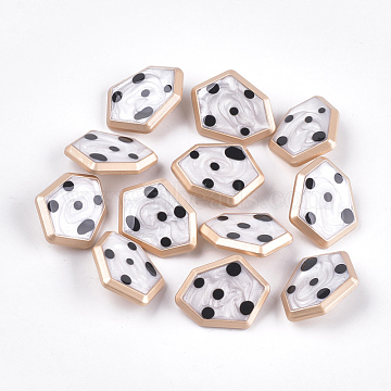 Zinc Alloy Shank Buttons, with Epoxy Resin, Polygon, Matte Gold Color, Creamy White, 21.5x27.5x8mm, Hole: 2mm(BUTT-S023-04B)