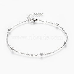 304 Stainless Steel Anklets, with Lobster Claw Clasps, Round Beads and Cable Chains, Stainless Steel Color, 9inches(230mm); 1.8mm(AJEW-H013-02P)
