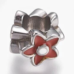Perles en 304 acier inoxydable, avec l'émail, Perles avec un grand trou   , fleur, DarkRed, couleur inoxydable, 11x9mm, Trou: 5.5mm(STAS-F195-049P-03)