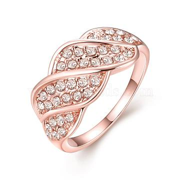 Exquisite Brass Czech Rhinestone Finger Rings for Women, Rose Gold, Size 8, 18.1mm(RJEW-BB02138-8)