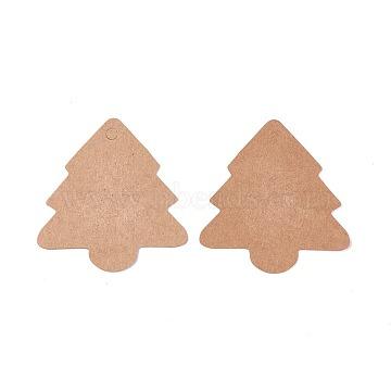 Kraft Paper Price Tags, Christmas Tree, BurlyWood, 5.6x5.4x0.04cm, Hole: 0.4cm(DIY-WH0143-01)