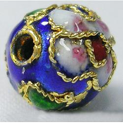 perles en cloisonné main, coloré, 10 mm de diamètre, trou: environ 1.5 mm(X-CLB10mmC12)