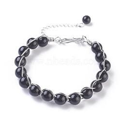 bracelets perlés d'obsidienne naturelle, avec les résultats en laiton, 7-1 / 4 (18.5 cm); 10~11 mm(BJEW-F386-01F)