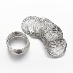 fil à mémoire de bracelet en acier, sans cadmium et sans nickel et sans plomb, couleur platine, sur 5.5 cm de diamètre, fils: 0.6 mm d'épaisseur, environ 100 cercles / ensemble(X-MW5.5CM-NF)