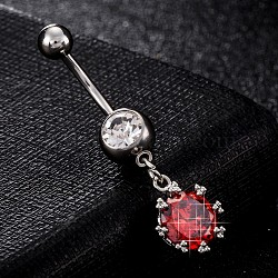Piercing Jewelry, Environmental Brass Cubic Zirciona Navel Ring, Belly Rings, with Use Stainless Steel Findings, Flower with Teardrop, Red, 38x11mm; Pin: 1.5mm(AJEW-EE0003-01D)