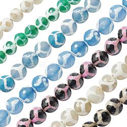 Chapelets de perles de style tibétain, agate naturel, teint, ronde à facettes, couleur mixte, 14 mm de diamètre, Trou: 1mm(G-G036-14mm)