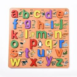enfants en bois blocs de construction de bricolage, pour les jouets d'apprentissage et d'éducation, alphabet, couleur mélangée, 30x30x1.2 cm; 26 pcs / set(DIY-L018-23)