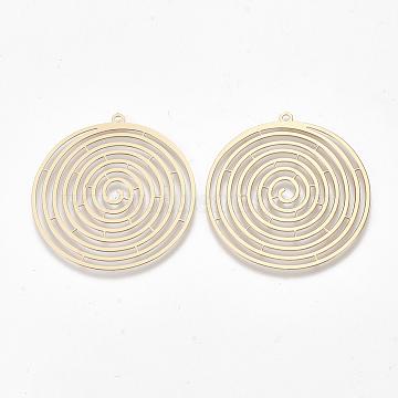 Brass Pendants, Etched Metal Embellishments, Flat Round, Light Gold, 36x34x0.3mm, Hole: 1.4mm(X-KKC-T001-21KC)