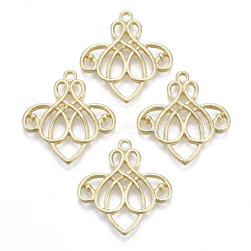 Alloy Pendants, Heart, Light Gold, 26x24x2.5mm, Hole: 1.8mm(PALLOY-R116-32LG)