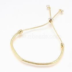 bracelets bolo réglables en laiton, bracelets de slider, avec des pendentifs en zircone cubique, sans plomb et sans cadmium et sans nickel, plaqué longue durée, or, 1-1 / 2 / 2-7 8 cm ~ (3.8 cm); 7.4 mm(BJEW-P218-05G)