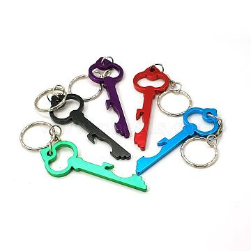 Aluminum Alloy Bottle Openners, with Iron Rings, Mixed Color, 122mm(AJEW-G001-14)