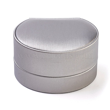PU Leather Pendant Boxes, with Velvet and Cardboard, Round, LightGrey, 7.15x8.05x4.7cm(LBOX-L002-B03)