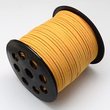 Faux Suede Cord, Faux Suede Lace, Orange, 2.7x1.4mm, about 98.42 yards(90m)/roll(LW-R007-1058)