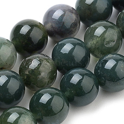 Natural Moss Agate Beads Strands, Round, 6mm, Hole: 1mm; about 62pcs/strand, 15.7inches