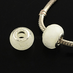 rondelle chalumeau grand trou perles européennes, avec des noyaux de laiton de ton argent, blanc, 13~14x10~11 mm, trou: 5 mm(X-LPDL-R003-03M)