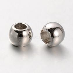 Perles européennes en plastique CCB, perles de rondelle avec grand trou , platine, 10x8mm, Trou: 5mm(CCB-J029-85P)
