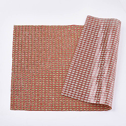 paillettes résine strass hotfix, repasser les plaques, avec mini perles, pour couper les sacs en tissu et les chaussures, rouge, 40x24 cm(RB-T012-20D)