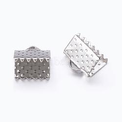 ruban de fer sertir extrémités, sans nickel, platine, taille: environ 6 mm de long, 8 mm de large, trou: 2 mm(X-E004Y-NF)