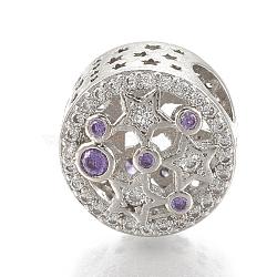 Perles européennes en laiton avec zircone cubique, Perles avec un grand trou   , plat et circulaire avec étoile, platine, blueviolet, 12x9mm, Trou: 4mm(ZIRC-T006-33P-04)