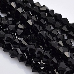 Faceted Bicone Glass Beads Strands, Black, 3x3mm, Hole: 1mm, about 100pcs/strand, 11.8 inches(X-EGLA-P017-3mm-04)