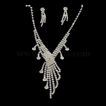 Fashionable Wedding Rhinestone Necklace and Stud Earring Jewelry Sets, Bridal Tiaras, with Iron and Brass Base, Crystal, 17.3inches; 31x7.5mm, Pin: 1mm(SJEW-R046-10)