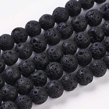 Natural Lava Rock Beads Strands, Round, Black, about 6mm in diameter, hole: 0.8mm; about 60pcs/strand, 16 inches(X-g434-8)