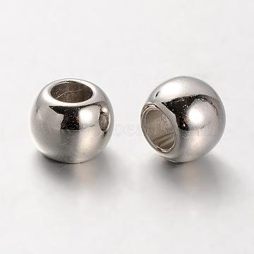CCB Plastic European Beads, Large Hole Rondelle Beads, Platinum, 10x8mm, Hole: 5mm(CCB-J029-85P)