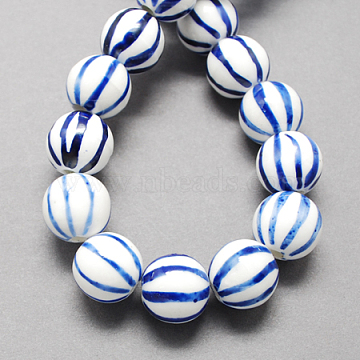 10mm Blue Round Porcelain Beads