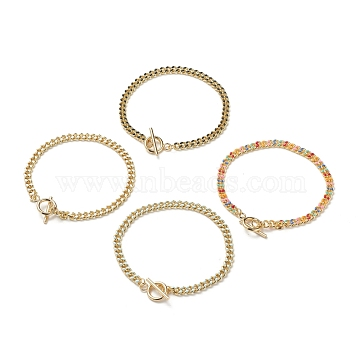 Brass Curb Chain Bracelets, with Enamel and 304 Stainless Steel Toggle Clasps, Real 18K Gold Plated, Mixed Color, 8-1/8 inches(20.5cm)(BJEW-JB05507)
