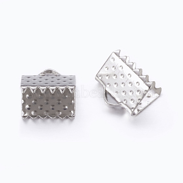 Iron Ribbon Crimp Ends, Nickel Free, Platinum, Size: about 6mm long, 8mm wide, hole: 2mm(X-E004Y-NF)