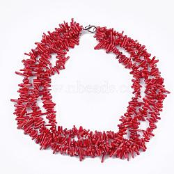 colliers à plusieurs rangs de perles de corail de bambou marin (imitation corail), avec fermoir à ressort en laiton, rouge, 18.1 (46 cm)(NJEW-S414-52)