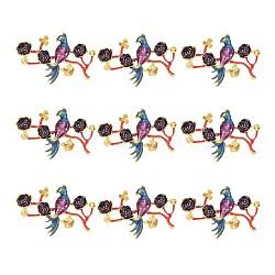 Sertissage strass en alliage de style chinois, fleur avec l'oiseau, colorées, or, s'adapter pour 1.5~5 mm strass; 37.5x54x7.5 mm(X-ENAM-E329-53A-G)