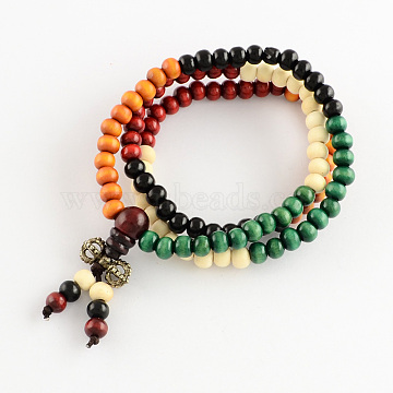 Dual-use Items, Wrap Style Buddhist Jewelry Dyed Wood Round Beaded Bracelets or Necklaces, Colorful, 520mm; 108pcs/bracelet(X-BJEW-R281-45)