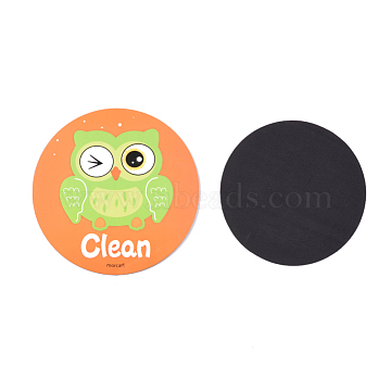 Owl Clean Dirty Double Sided Dish Washer Magnet Sign, for Kitchen Dishes, Orange, 80x2mm(AJEW-D044-06A)