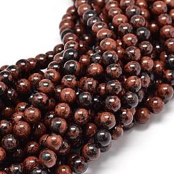 """Chapelets de perles rondes d'obsidienne naturel d'acajou  , 8mm, trou: 1mm; environ 48 pcs/chapelet, 15.5""""(G-P075-26-8mm)"""