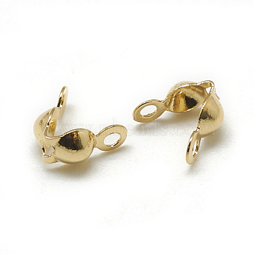 Brass Bead Tips, Calotte Ends, Clamshell Knot Cover, Real 18K Gold Plated, 7x4mm, Hole: 1mm, Inner Diameter: 3mm(KK-T032-153G)
