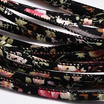 Flower Printing Cloth Cords, Black, 7mm; 100yards/bundle(300 feet/bundle)(OCOR-M001-01)