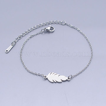 201 Stainless Steel Link Bracelets, with Lobster Claw Clasps, Feather, Stainless Steel Color, 6-3/4 inches~6-7/8 inches(17.2~17.4cm)(BJEW-T011-JN497-1)