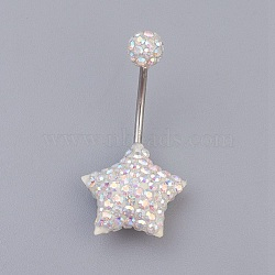Austrian Crystal Belly Rings, with 316 Stainless Steel and Polymer Clay, Star, 001_Crystal, Size: Length: about 29mm long(X-SWAR-G009-101)