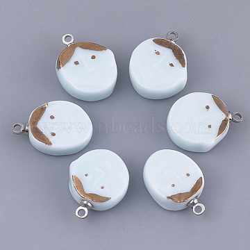 Handmade Porcelain Pendants, Bright Glazed Porcelain, with Brass Findings, Oval with Face, Platinum, Azure, 17~18x12~13x5~5.5mm, Hole: 1.5mm(PORC-T002-30)