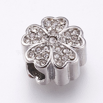 304 Stainless Steel European Beads, Large Hole Beads, with Rhinestone, Flower, Stainless Steel Color, Crystal, 11x7mm, Hole: 4mm(X-STAS-O097-101B)
