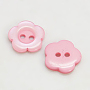 Resin Buttons, Dyed, Flower, Pink, 11x2.4mm, Hole: 1.6~1.8mm; about 1000pcs/bag