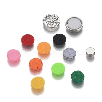 304 Stainless Steel Diffuser Locket Clips, with Perfume Pad, Magnet and Aroma Box, Flat Round with Flower, Mixed Color, 12x4.5mm(AJEW-N025-01P)