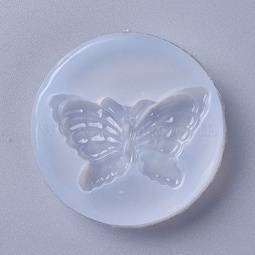 Food Grade Silicone Molds, Fondant Molds, For DIY Cake Decoration, Chocolate, Candy, Soap, UV Resin & Epoxy Resin Jewelry Making, Butterfly, White, 58x11mm, Butterfly: 50x30mm(X-DIY-L026-033)