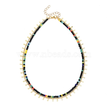 Double Layer Necklaces, with  Faceted Glass Beads, 304 Stainless Steel Lobster Claw Clasps, Brass Curb Chains & Charms, Golden, Colorful, 13.78~14.17 inches(35~36cm)(NJEW-JN03077-03)