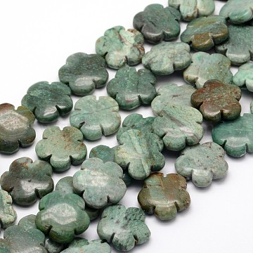 Flower Natural Dragon Blood Jasper Beads Strands, 21x6mm, Hole: 1mm; about 20pcs/strand, 15.74inches(G-L301-02)