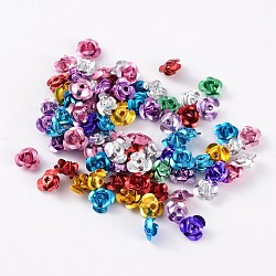 Aluminum Rose Flower, Tiny Metal Beads, Mixed Color, about 6mm wide, 4.5mm high, hole: 1mm, about 950pcs/bag(AF6MM00MY)